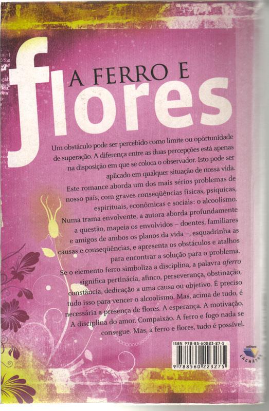 """Verso da capa do livro """"A ferro e flores"""""""